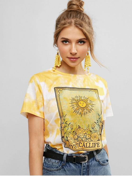 fashion Sun Floral Graphic Tie Dye Tee - WHITE L