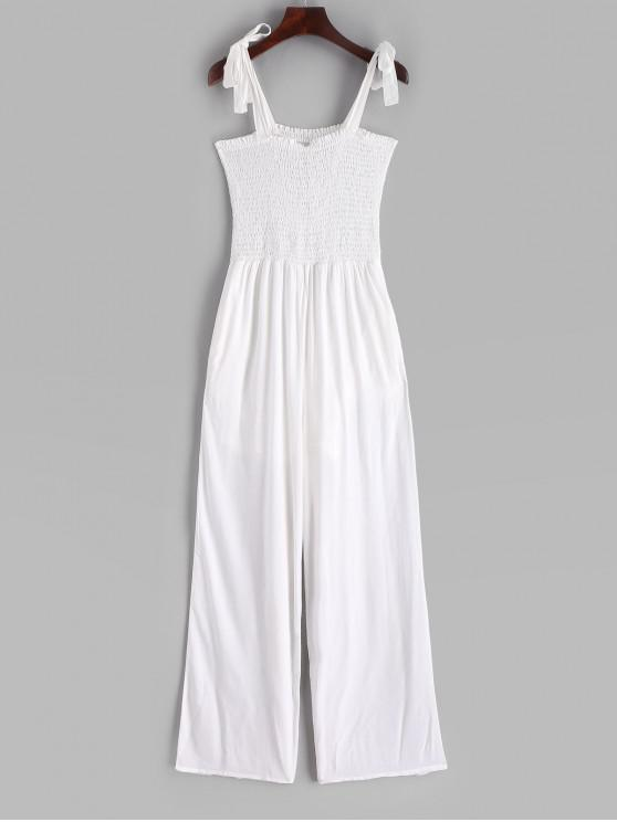 shop Tied Straps Smocked Wide Leg Jumpsuit - WHITE XL