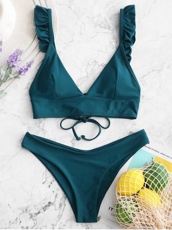 Costume da bagno bikini imbottito stringato con volant ZAFUL - Blu pavone S