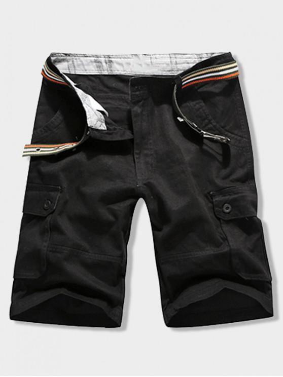 Пуговицы Карман Одноцветные Шорты Молния - Чёрный 32