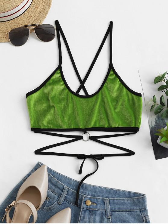 unique O-ring Velvet Tied Cami Top - SEAWEED GREEN M