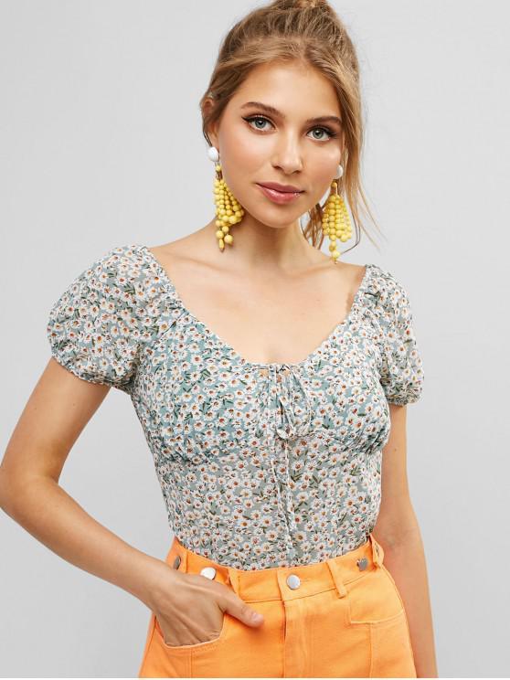 Cuello Atado Blusa Floral Recortada - Multicolor-A S