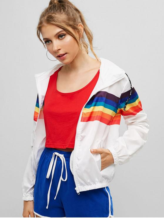 womens Zip Up Rainbow Hooded Jacket - WHITE L