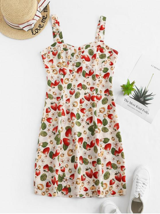 草莓花卉A線迷你連衣裙 - 多-A M