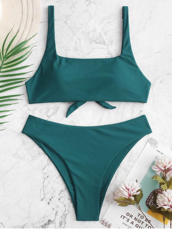 best ZAFUL Tie Back Square Neck Plain Bikini Swimsuit - PEACOCK BLUE M