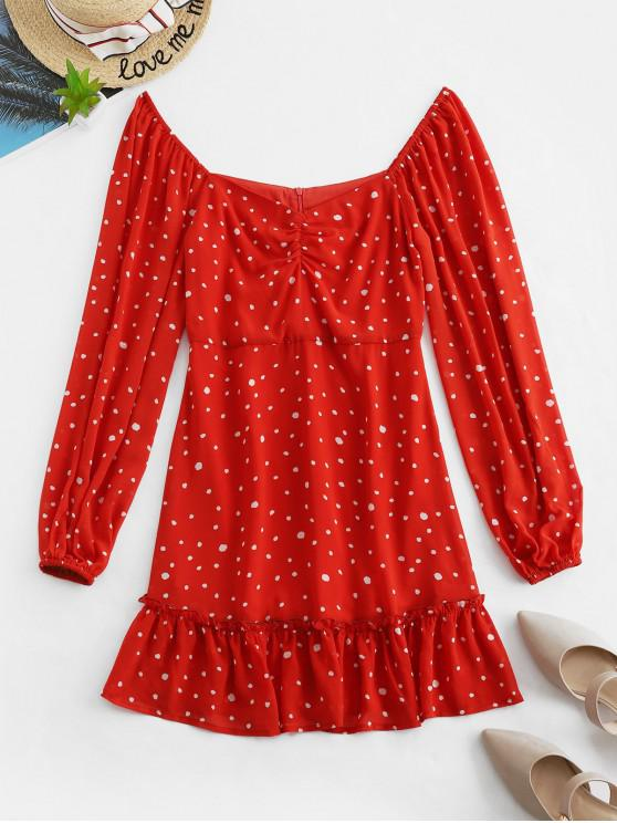women ZAFUL Dotted Ruched Flippy Hem Mini Dress - VALENTINE RED M
