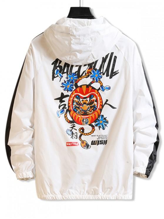 trendy Letter Graphic Floral Harajuku Pattern Panel Sunproof Hooded Jacket - WHITE M