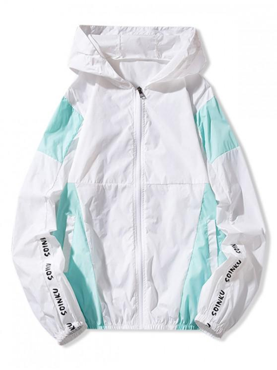 hot Letter Print Color Block Panel Sunproof Hooded Jacket - BLUE M