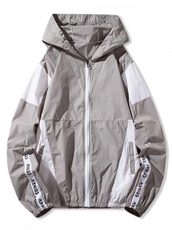 fashion Letter Print Color Block Panel Sunproof Hooded Jacket - GRAY L