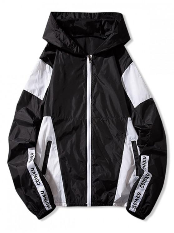 fancy Letter Print Color Block Panel Sunproof Hooded Jacket - BLACK L