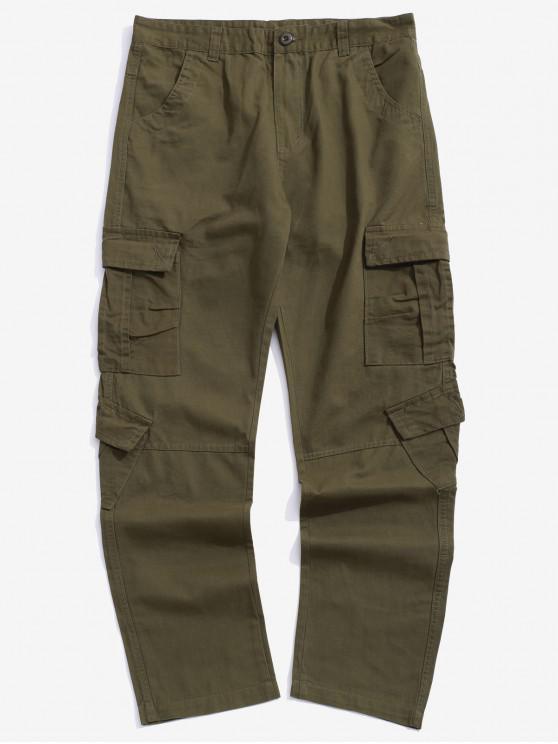 Multi bolsillos con solapa Pantalones largos lisos de color sólido empalmados - Ejercito Verde 36