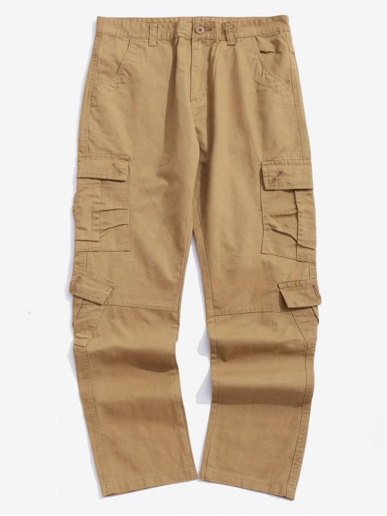 Multi bolsillos con solapa Pantalones largos lisos de color sólido empalmados - Camel Marrón 36