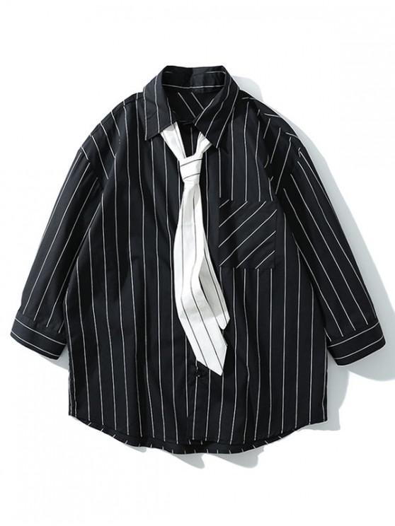 sale Chest Pocket Striped Print Curved Hem Button Shirt with Tie - BLACK 2XL