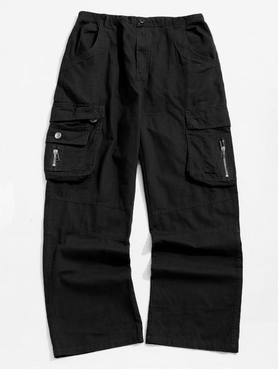 Сплошной цвет лоскут карман длинные прямые брюки-карго - Чёрный 40