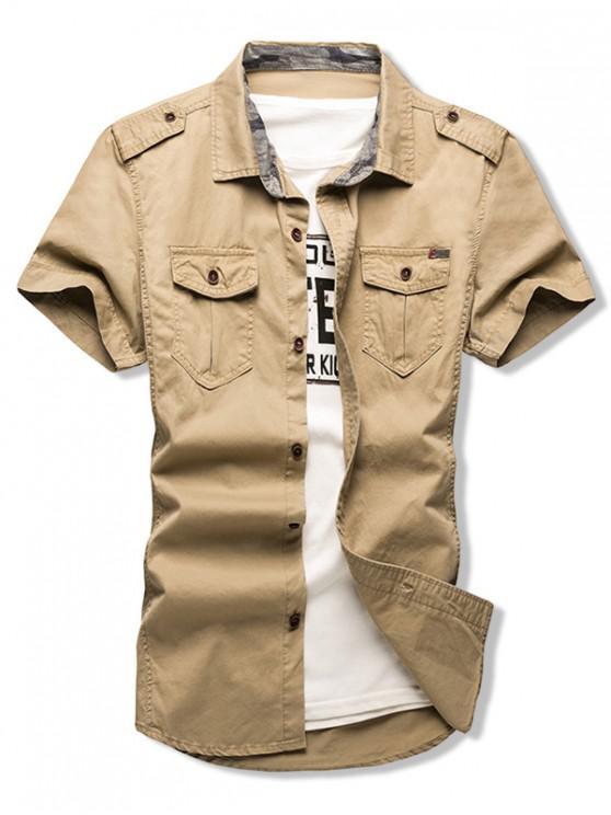shops Solid Color Chest Flap Pocket Short Sleeve Button Shirt - GOLDENROD L