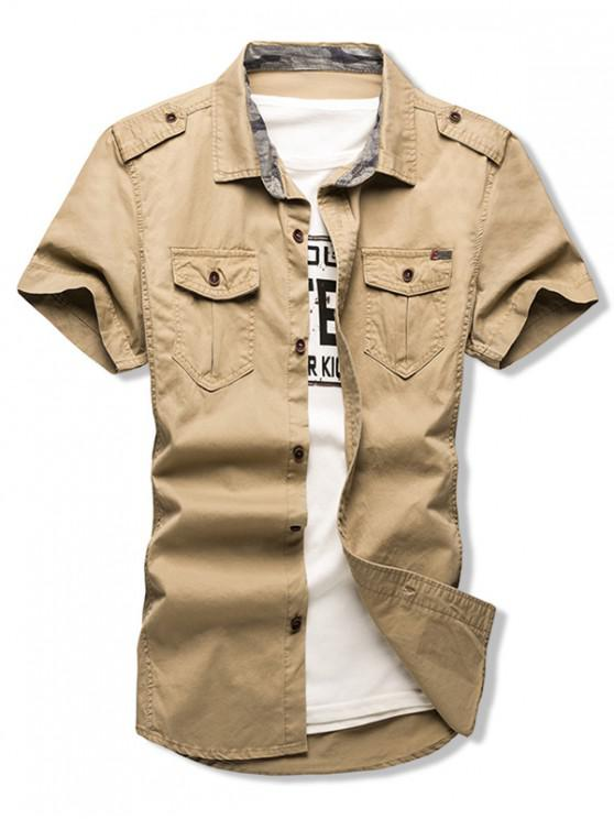 new Solid Color Chest Flap Pocket Short Sleeve Button Shirt - GOLDENROD S
