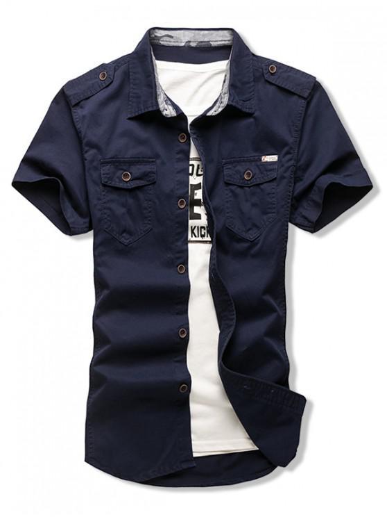 hot Solid Color Chest Flap Pocket Short Sleeve Button Shirt - DENIM DARK BLUE M