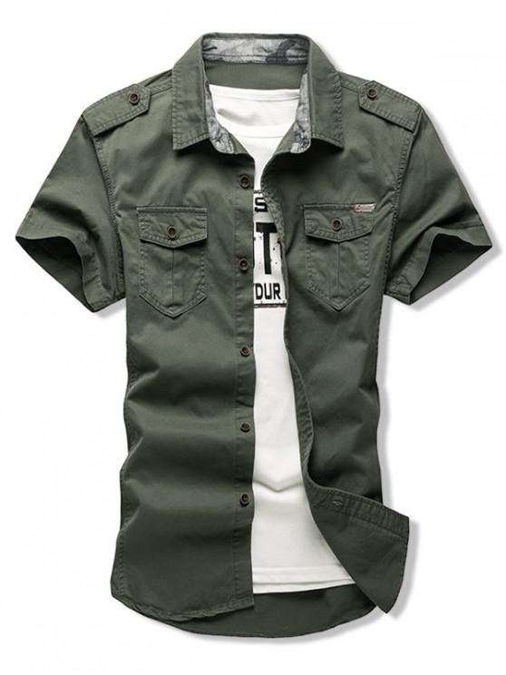 trendy Solid Color Chest Flap Pocket Short Sleeve Button Shirt - ARMY GREEN M