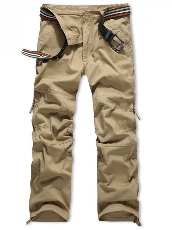 outfit Side Zipper Pocket Solid Color Long Straight Pants - SAFFRON 34