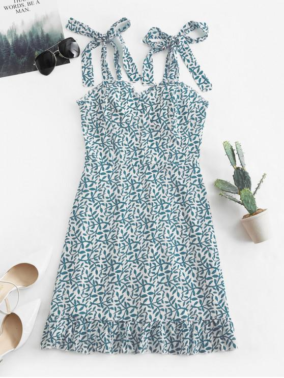 lady Tied Straps Leaves Print Smocked Mini Dress - BLUE M