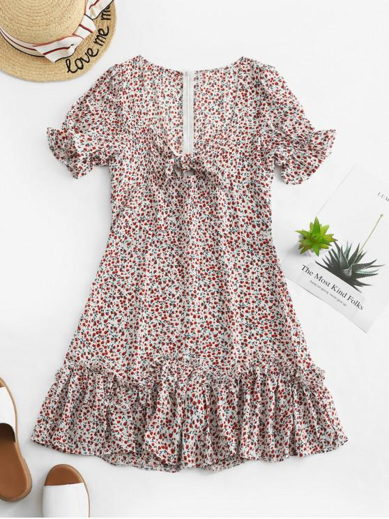 outfit Tie Front Ruffled Hem Ditsy Floral Dress - MULTI-A S