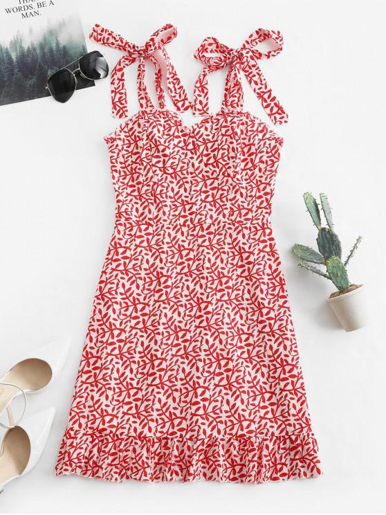 fashion Tied Straps Leaves Print Smocked Mini Dress - RED M