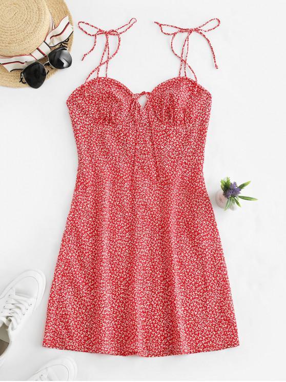 Mini Robe Feuille Imprimée à Bretelle - Rouge M