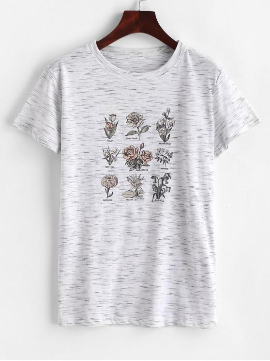 fancy Floral Print Short Sleeves Space Dye Tee - LIGHT GRAY M