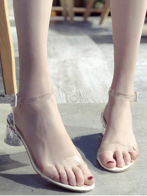 shop Transparent Mid Block Heel Sandals - TRANSPARENT EU 35 Mobile