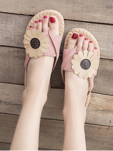 women Flat Toe Post Flower Decor Slides - PINK EU 38 Mobile