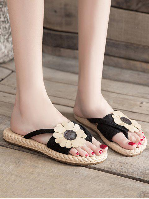 womens Flat Toe Post Flower Decor Slides - BLACK EU 37 Mobile