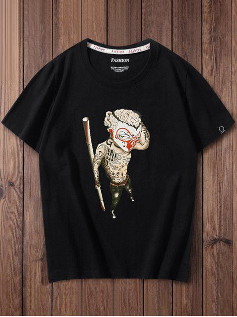 womens Chinese Cartoon Monkey Graphic Casual T-shirt - BLACK XL Mobile