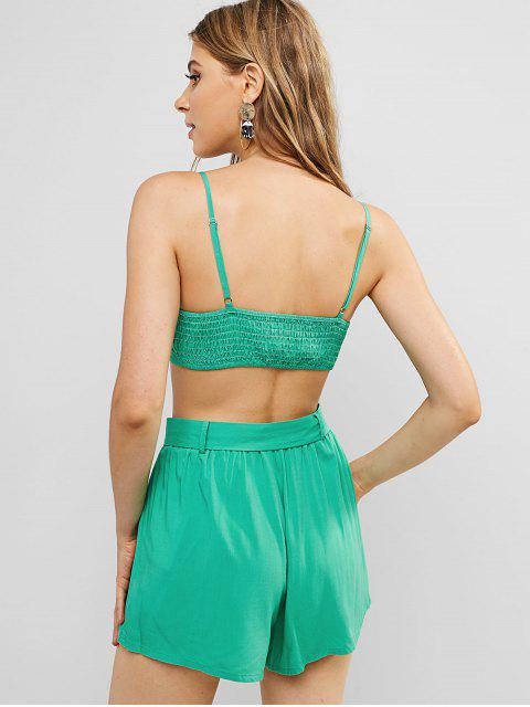 chic ZAFUL Bowknot Shirred Co Ord Set - GREEN APPLE S Mobile