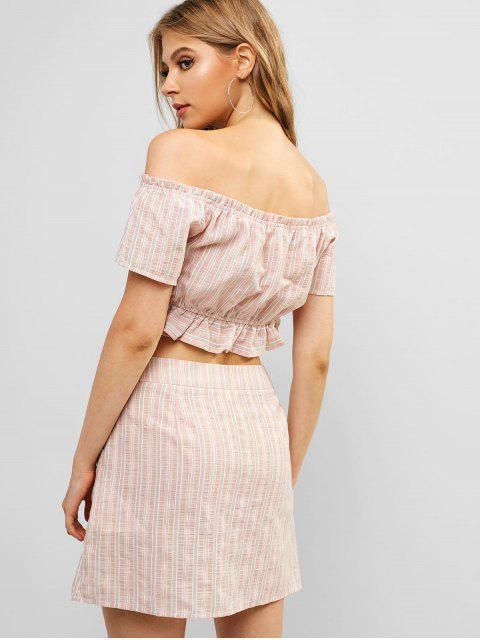 chic ZAFUL Buttons Ruffled Striped Two Pieces Skirt Suit - ROSE S Mobile