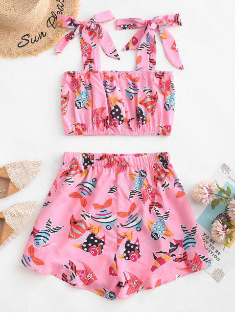 women's ZAFUL Tied Straps Goldfish Top And Shorts Set - PINK S Mobile