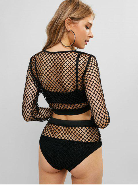 women's Long Sleeves Fishnet Crop Two Pieces Suit - BLACK S Mobile