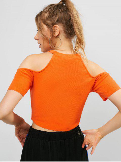ZAFUL Cold Hombro Mock Neck Crop camiseta - Mango Naranja M Mobile