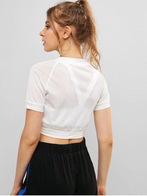 Camiseta corta elástica con manga raglán perforada ZAFUL - Blanco M Mobile