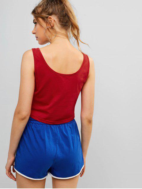 ZAFUL Color Block Drawstring Ringer Shorts Set - Multicolor-A S Mobile