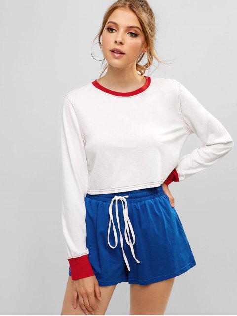 Conjunto de top y pantalones cortos de color block de costura de ZAFUL Sports - Blanco S Mobile