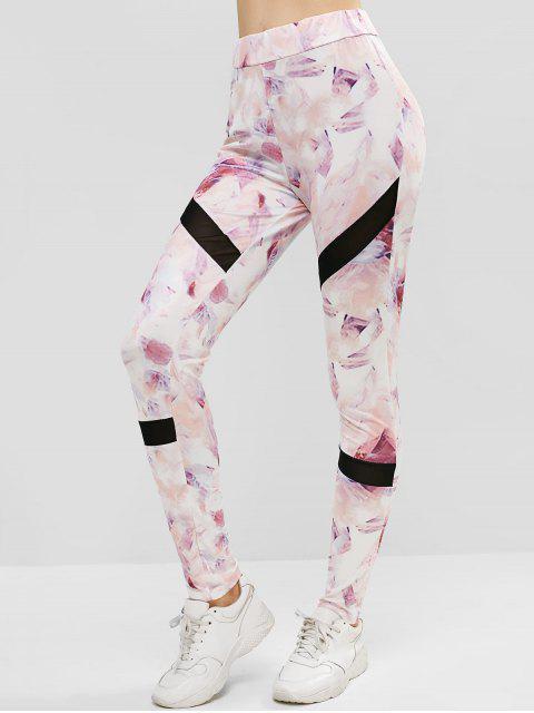 Leggings deportivos de talle alto con paneles de malla estampados - Cerdo Rosa L Mobile