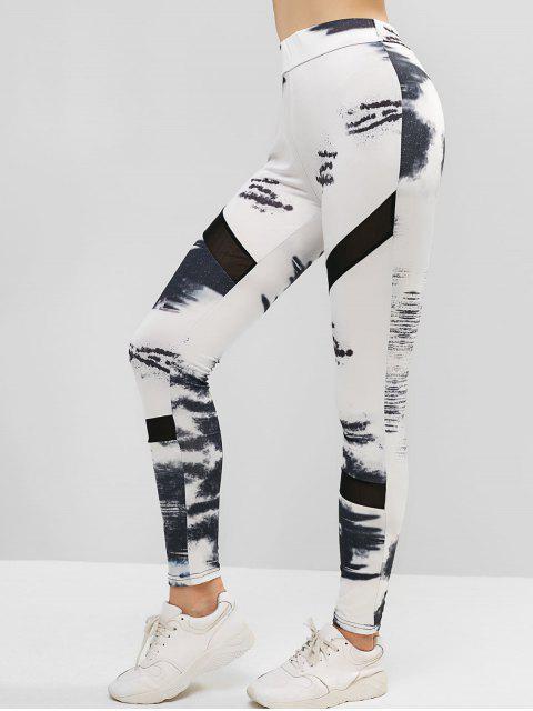 Polainas deportivas estampadas con panel de malla de talle alto - Blanco L Mobile
