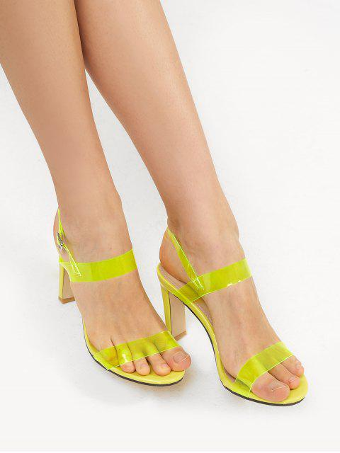 online Neon PVC Ankle Strap Stiletto Heel Sandals - TEA GREEN EU 36 Mobile
