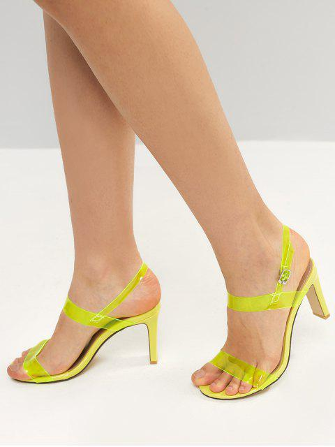 best Neon PVC Ankle Strap Stiletto Heel Sandals - TEA GREEN EU 37 Mobile