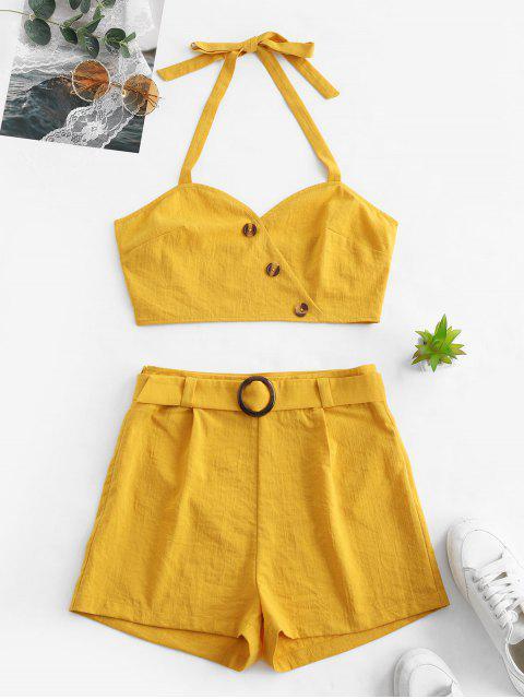 women's ZAFUL Halter Button Embellished Belted Shorts Set - GOLDEN BROWN S Mobile