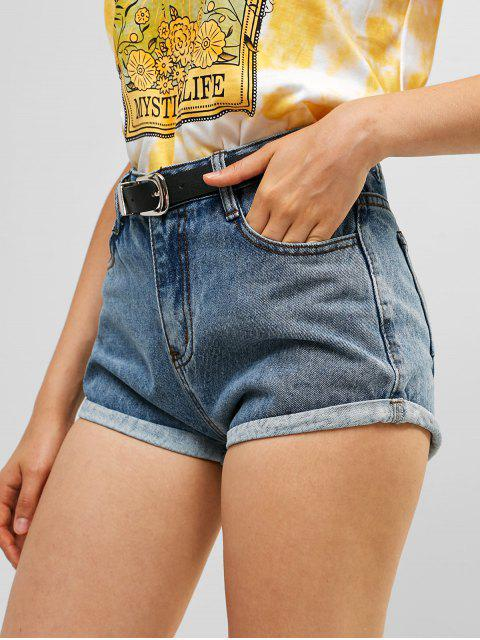 fashion Belted Denim Cuffed Shorts - BLUE M Mobile