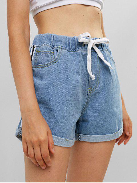 online Drawstring Cuffed Stripes Panel Denim Shorts - DENIM BLUE M Mobile