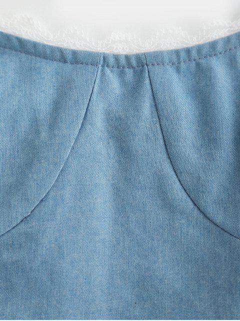 ZAFUL Haut à Bretelle Ourlet en Dentelle à Epaule Nouée - Bleu Toile de Jean S Mobile