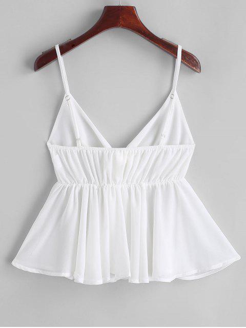 women Knot Semi Sheer Chiffon Cami Top - WHITE S Mobile