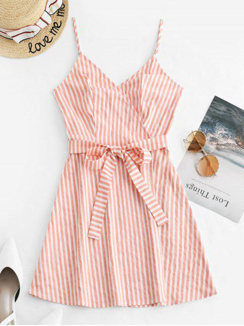 sale ZAFUL Striped Cami Wrap Dress - DEEP PEACH S Mobile